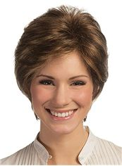 Gracefull Full Lace Short Wavy Brown Remy Hair Wig