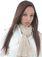 Hand Knitted Long Straight Brown Remy Hair Wig