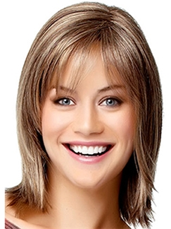 Impressive Capless Short Straight Blonde Remy Hair Wig