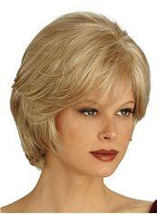 Impressive Capless Short Wavy Blonde Remy Hair Wig