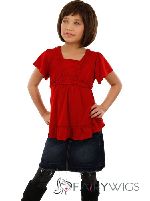 Impressive Short Brown 100% Indian Remy Hair Kids Wigs 12 Inch
