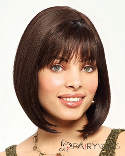 Impressive Short Straight Brown 12 Inch Remy Human Hair Wigs
