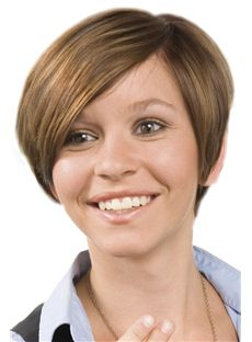 Inexpensive Full Lace Short Straight Brown Remy Hair Wig