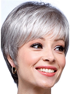 Inexpensive Short Straight Gray 8 Inch Indian Remy Hair Wigs