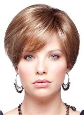 Lastest Trend Full Lace Short Straight Blonde Top Human Hair Wigs