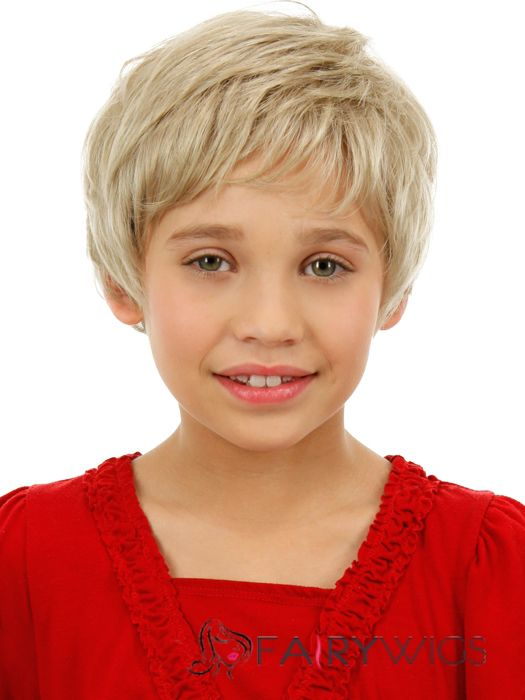 Lastest Trend Short Blonde 100% Indian Remy Hair Kids Wigs 6 Inch (15.24 cm)