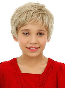 Lastest Trend Short Blonde 100% Indian Remy Hair Kids Wigs 6 Inch