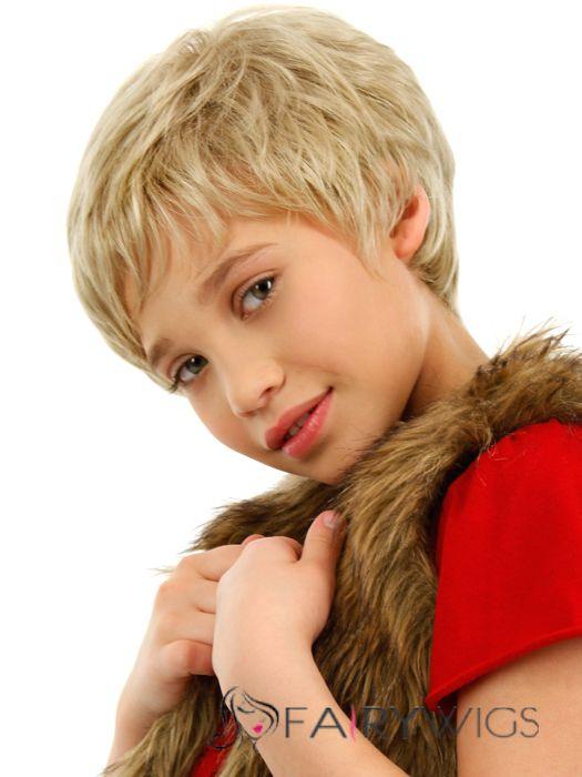 Lastest Trend Short Blonde 100 Indian Remy Hair Kids Wigs 6 Inch
