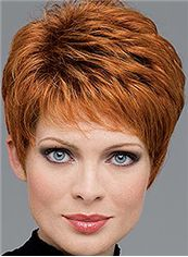 Lastest Trend Short Wavy Red 8 Inch Indian Remy Hair Wigs