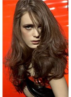 Modern Full Lace Long Wavy Brown Remy Hair Wig