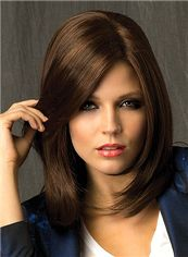 Modern Full Lace Medium Straight Brown Remy Hair Wig