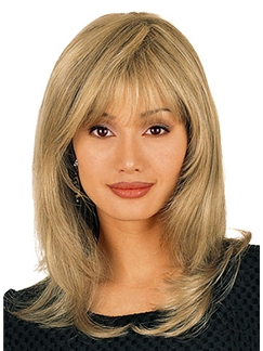 Modern Medium Wavy Blonde 16 Inch Human Hair Wigs