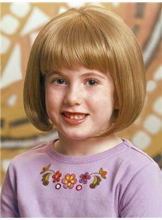 Modern Short Blonde 100% Indian Remy Hair Kids Wigs 12 Inch