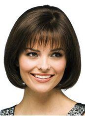 Modern Short Straight Black 12 Inch Remy Hair Wigs