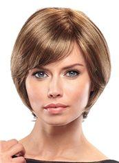 Modern Short Straight Brown 10 Inch Human Hair Wigs
