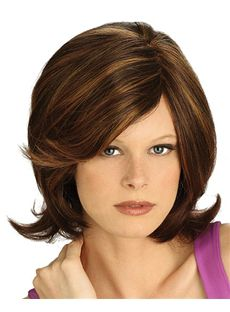 Natural Capless Short Wavy Brown Synthetic Hair Wig