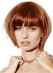 Natural Short Straight Red 12 Inch Human Hair Wigs