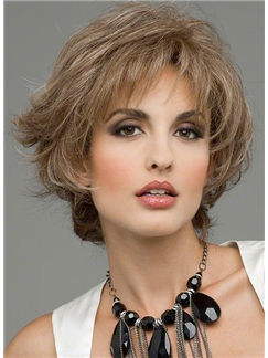 New Fashion Capless Short Wavy Gray Remy Hair Wig