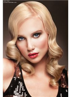 New Glamourous Full Lace Medium Wavy Blonde Top Remy Hair Wig