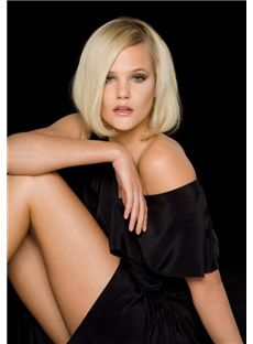 New Glamourous Full Lace Short Straight Blonde Real Hair Wig
