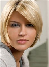New Impressive Full Lace Short Straight Blonde Remy Hair Wig