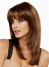 New Impressive Medium Straight Brown 18 Inch Remy Human Hair Wigs