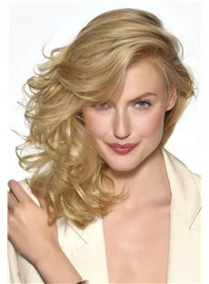 New Full Lace Medium Wavy Blonde Remy Hair Wig