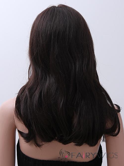 New Medium Straight 16 Inch Human Hair Wigs