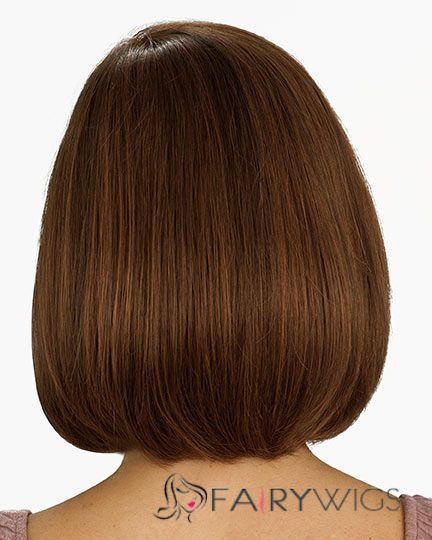 New Short Wavy Brown 12 Inch Human Hair Wigs