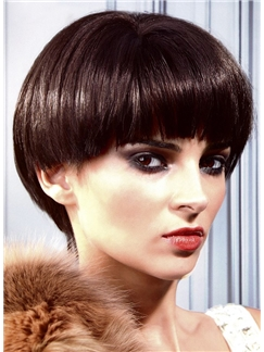 New Short Straight Brown 10 Inch Human Hair Wigs