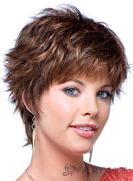 New Short Wavy Brown Human Hair Wigs