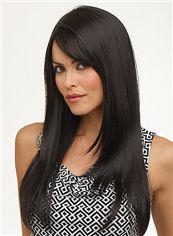 Newest Capless Long Straight Black Remy Hair Wig