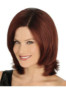 Newest Full Lace Medium Wavy Red Remy Hair Wig