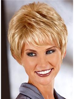 Newest Short Wavy Blonde 8 Inch Human Hair Wigs