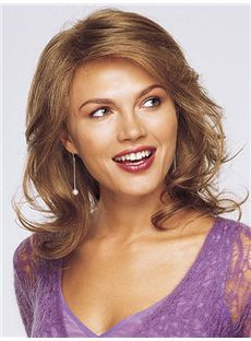 Online Wigs Full Lace Medium Wavy Brown Remy Hair Wig