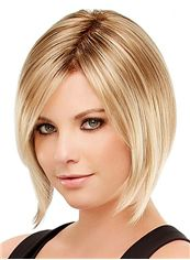 Online Wigs Full Lace Short Straight Blonde Remy Hair Wig