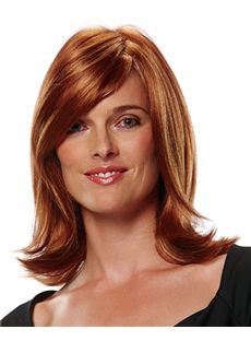Online Wigs Medium Wavy Brown 14 Inch Indian Remy Hair Wigs