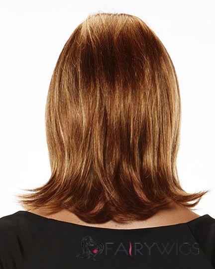 Online Wigs Medium Wavy Brown 14 Inch Indian Remy Hair Wigs