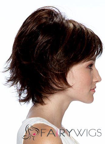 Online Wigs Short Wavy Brown 10 Inch Real Human Hair Wigs