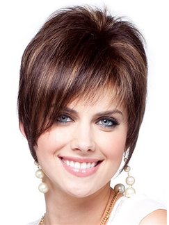 Online Wigs Short Straight Brown Human Hair Wigs