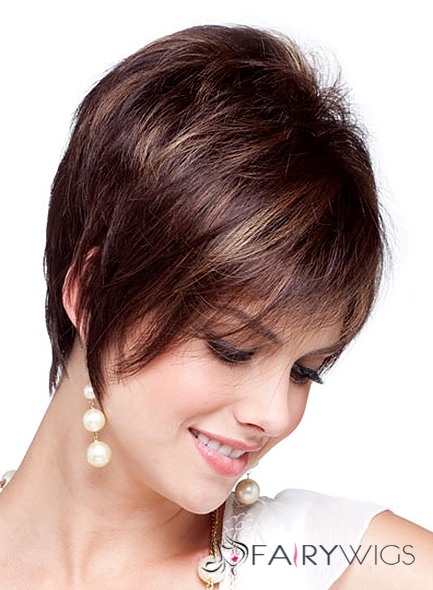Online Wigs Short Straight Brown Human Hair Wigs