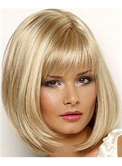 Outstanding Medium Straight Blonde 14 Inch Indian Remy Hair Wigs
