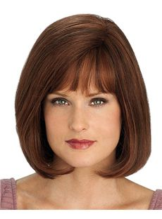 Outstanding Short Straight Brown 12 Inch Human Hair Wigs