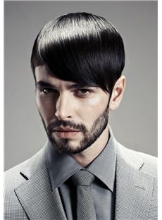 Outstanding Short Human Black Hair Mens Wigs