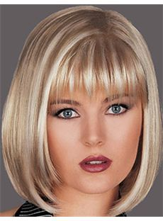Perfect Short Straight Blonde 12 Inch Human Hair Wigs