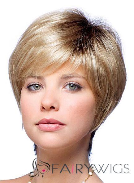 Popurlar Short Straight Blonde 10 Inch Human Hair Wigs