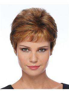 Pretty Short Straight Brown Human Hair Wigs