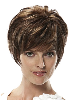 Quality Wigs Short Wavy Brown 10 Inch Human Hair Wigs