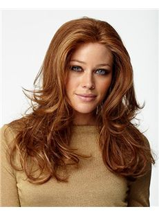 Sale Wigs Lace Front Medium Wavy Red Top Quality Real Hair Wig