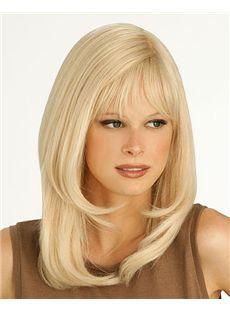 Shining Medium Straight Blonde 16 Inch Real Human Hair Wigs